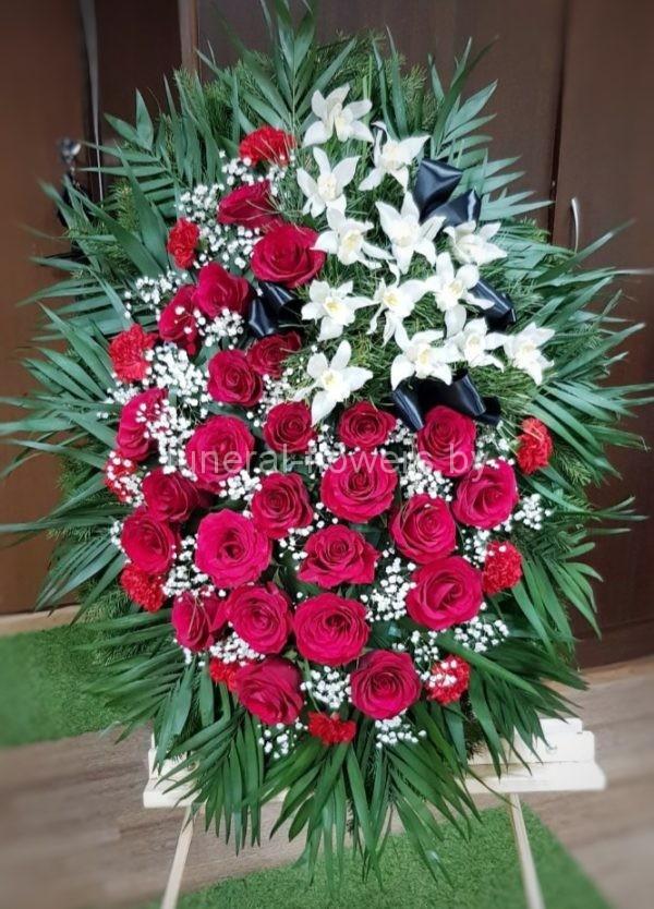 Похоронный венок из живых цветов круглый «Благодарность»
