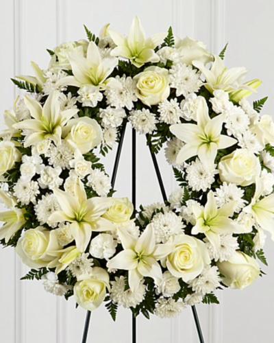 Венок из живых цветов круглый «Невесомость»