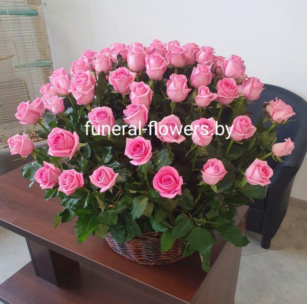 "Ритуальная корзина ""Розовая роза"""